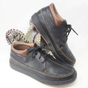 Mens Penguins Black Leather Lace Up Casual Shoes